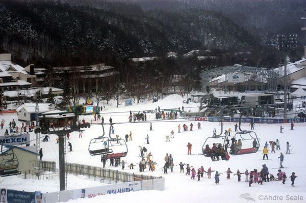 Esquiando no Yongpypong Alpine Centre